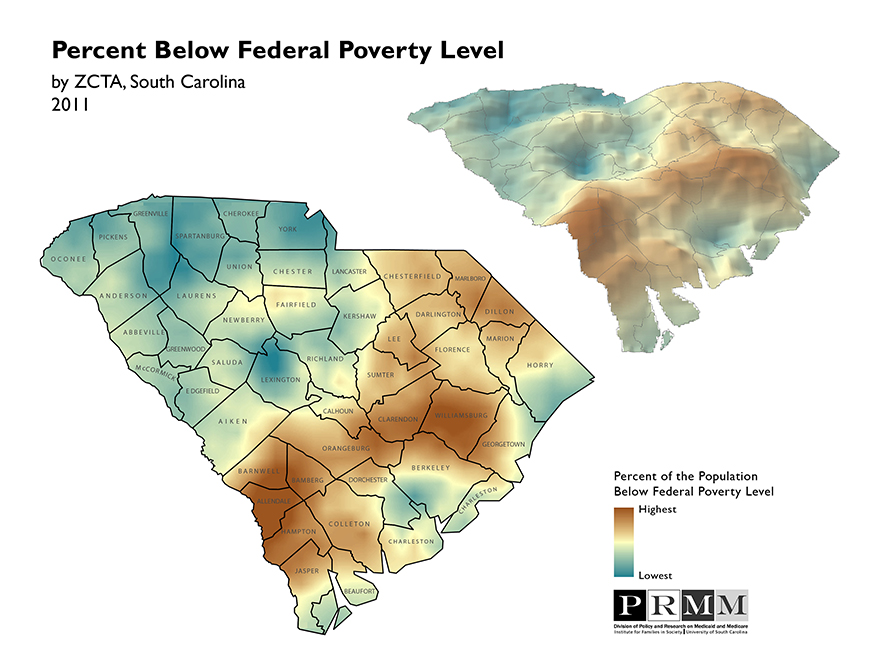 Surface map depictng percent below federal poverty level in SC by ZCTA